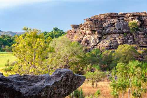Sandstone rock formations at Ubirr Rock, Kakadu National Park